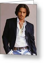 Johnny Depp Greeting Card by Dominique Amendola