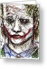Joker - Interrogation Greeting Card by Rachel Scott