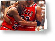 Jordan And Pippen Greeting Card by Paint Splat
