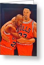 Jordan And Pippen Greeting Card by Yechiel Abramov