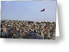 Jordanian Flag Flying Over The City Of Amman Jordan Greeting Card by Robert Preston