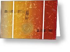 Journey To Zen - Earth Tone Yellow Burnt Orange Art Painting Greeting Card by Sharon Cummings