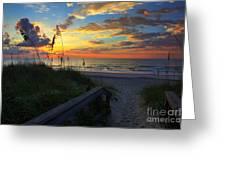 Joy Comes In The Morning Sunrise Carolina Beach Nc Greeting Card by Wayne Moran