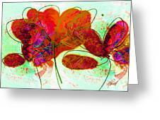 Joy Flower Abstract Greeting Card by Ann Powell