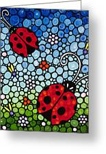 Joyous Ladies Ladybugs Greeting Card by Sharon Cummings