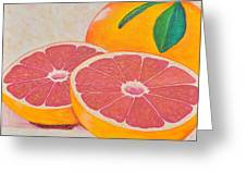Juicy Pink Grapefruit Greeting Card by Sally Rice