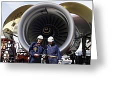 Jumbo Jet Engine Power Greeting Card by Christian Lagereek