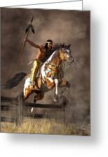 Jumping Mustang Greeting Card by Daniel Eskridge