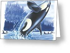 Jumping Orca Greeting Card by JQ Licensing