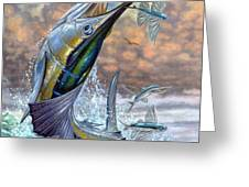Jumping Sailfish And Flying Fishes Greeting Card by Terry Fox