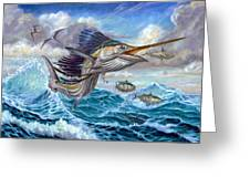 Jumping Sailfish And Small Fish Greeting Card by Terry Fox