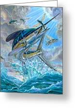 Jumping White Marlin And Flying Fish Greeting Card by Terry Fox