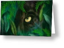 Jungle Eyes - Panther Greeting Card by Carol Cavalaris