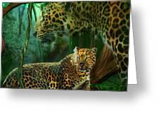 Jungle Spirit - Leopard Greeting Card by Carol Cavalaris