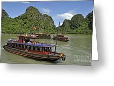 Junk Boats In Halong Bay Greeting Card by Sami Sarkis