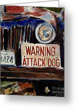 Junkyard Dog Greeting Card by Molly Poole