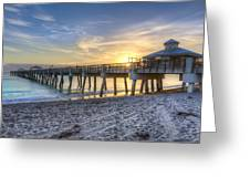 Juno Beach Pier At Dawn Greeting Card by Debra and Dave Vanderlaan