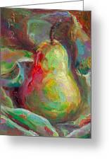 Just A Pear - Impressionist Still Life Greeting Card by Talya Johnson