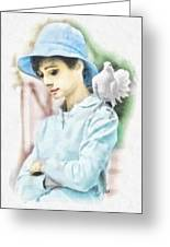 Just Audrey Greeting Card by Mo T