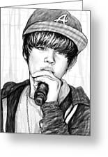 Justin Bieber Art Drawing Sketch Portrait - 2 Greeting Card by Kim Wang