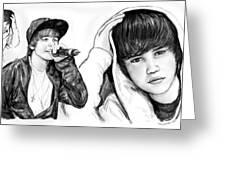 Justin Bieber Art Long Drawing Sketch Poster Greeting Card by Kim Wang