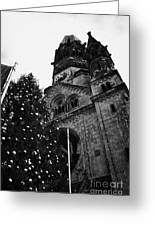 Kaiser Wilhelm Gedachtniskirche Memorial Church And Christmas Tree Berlin Germany Greeting Card by Joe Fox