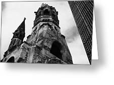 Kaiser Wilhelm Gedachtniskirche memorial church next to the new church Berlin Germany Greeting Card by Joe Fox