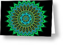 Kaleidoscope 1 Blues And Greens Greeting Card by Faye Giblin