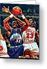 Karl Malone Vs. Michael Jordan Greeting Card by Florian Rodarte