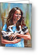 Kate Middleton Duchess Of Cambridge And Her Royal Baby Cat Greeting Card by Daniel Cristian Chiriac