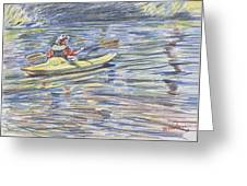 Kayak In The Rapids Greeting Card by Horacio Prada