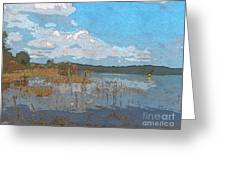 Kayaking At Lake Juliette Greeting Card by Donna Brown