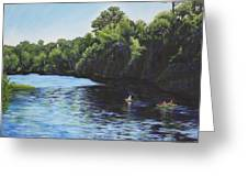 Kayaks on Rainbow River Greeting Card by Penny Birch-Williams