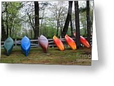 Kayaks Waiting Greeting Card by Michael Mooney