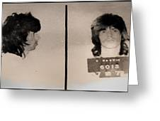 Keith Richards Mugshot - Keith Don't Go Greeting Card by Bill Cannon
