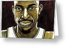 Kevin Garnett Portrait Greeting Card by Dave Olsen