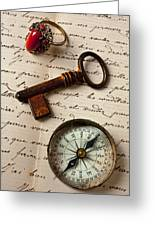 Key Ring And Compass Greeting Card by Garry Gay