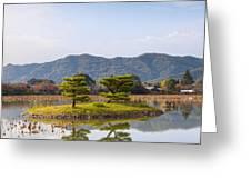 Kikugashima Island In Osawa Pond Daikaku-ji Temple Kyoto Greeting Card by Colin and Linda McKie
