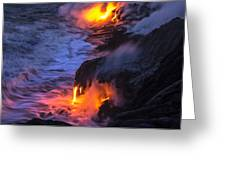 Kilauea Volcano Lava Flow Sea Entry 5 - The Big Island Hawaii Greeting Card by Brian Harig