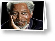 Kind Face Morgan Freeman Greeting Card by Brien Miller