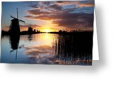 Kinderdijk Sunrise Greeting Card by Dave Bowman
