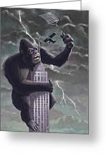 King Kong Plane Swatter Greeting Card by Martin Davey