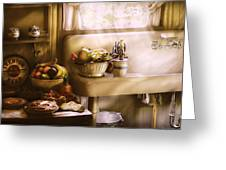 Kitchen - A 1930's Kitchen  Greeting Card by Mike Savad