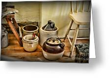 Kitchen Old Stoneware Greeting Card by Paul Ward