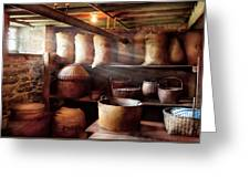 Kitchen - Storage - The Grain Cellar  Greeting Card by Mike Savad