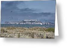 Kite Surfing Alcatraz Greeting Card by Chuck Kuhn