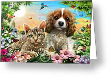 Kitten And Puppy Greeting Card by Adrian Chesterman