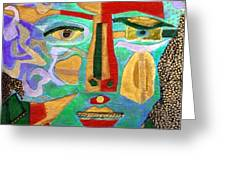 Klimt Face Greeting Card by Diane Fine