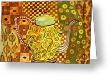 Klimt Style Teapot Blenda Studio Greeting Card by Blenda Studio