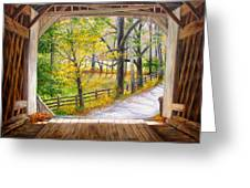 Knecht's Covered Bridge Greeting Card by Helen Lee Meyers
